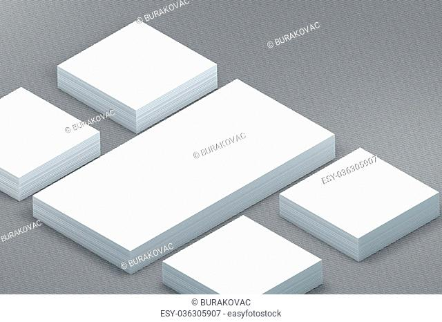 template to presentation. place for your design. many cards. stacks of paper. greeting cards. flyers. business cards. canvas background. envelope