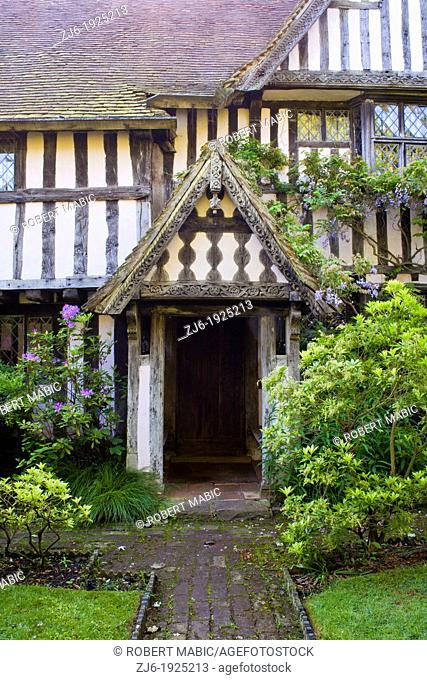 House entrance Old traditional house in Kent, Bexon Manor Kent England