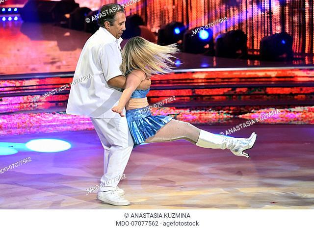 The Italian actor Angelo Russo with his dance teacher Anastasia Kuzmina during the fourthepisode of the show Ballando Con Le Stelle auditorium Rai Foro italico