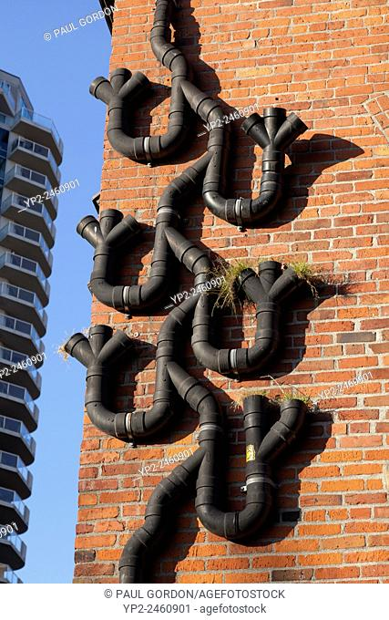 Buster Simpsonâ. . s downspout planter system, part of the Growing Vine Street Project in Belltown - Belltown, Seattle, King County, Washington, USA