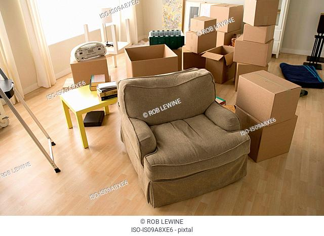 Living room with armchair and cardboard boxes