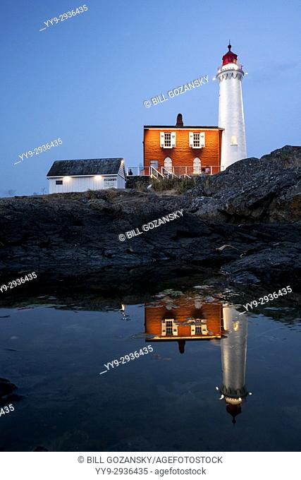 Fisgard Lighthouse at Night - Fort Rodd Hill, Victoria, Vancouver Island, British Columbia, Canada