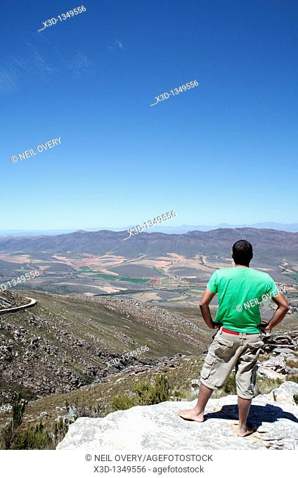 Man on Swartberg Pass, Western Cape, South Africa