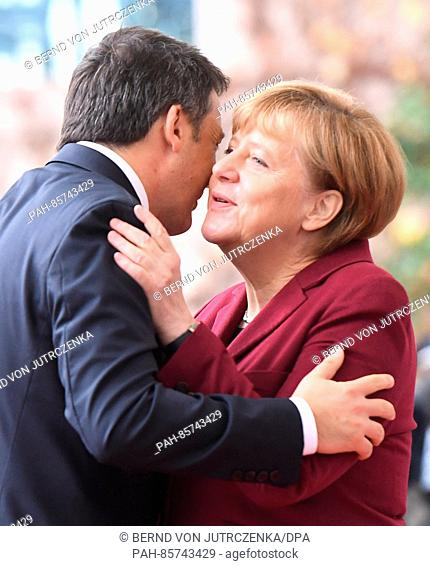 Italian politician prime minister stock photos and images age german chancellor angela merkel cdu welcomes italian prime minister matteo renzi before the talks m4hsunfo