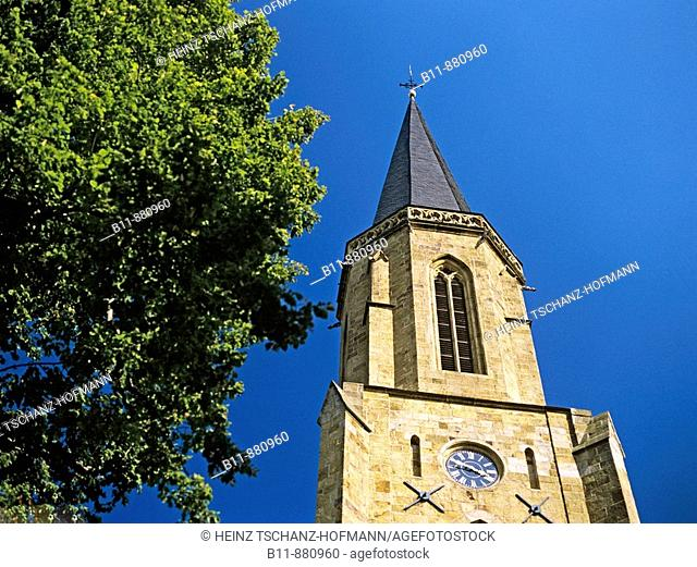 Steeple of the Sankt Clemens church at the city of Telgte, Northrhine-Westphalia, Germany
