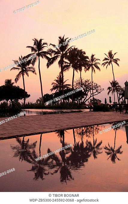 Sri Lanka, Hikkaduwa, sunset, beach, pool