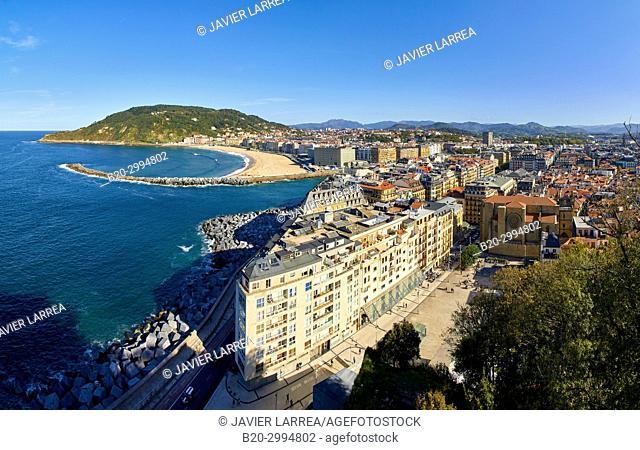 Plaza Zuloaga, Mouth of the Urumea River, La Zurriola Beach, Donostia, San Sebastian, Gipuzkoa, Basque Country, Spain, Europe