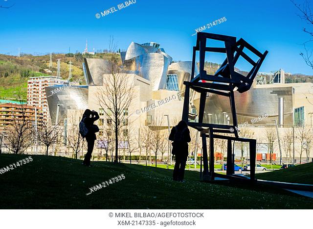 "Guggenheim Museum and """"Chaos Nervion"""" sculpture. Bilbao, Spain"