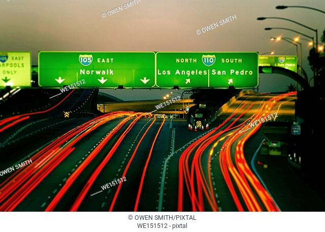 Streaming lights on Los Angeles Freeway at night