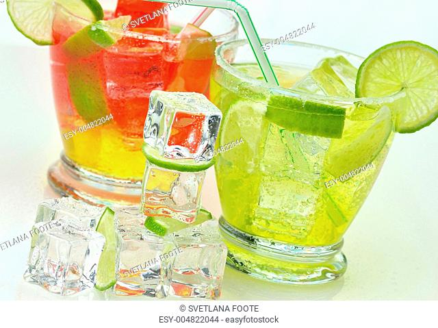 fruit cocktails with ice cubes