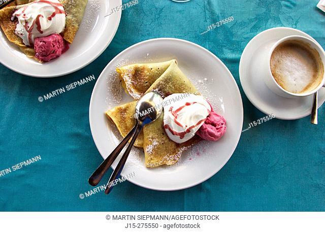 Ice cream on pancake, Slovenia