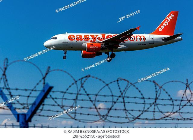 Plane Airbus A319 EasyJet approaching for a landing, Vaclav Havel Airport, Ruzyne Prague, Czech Republic