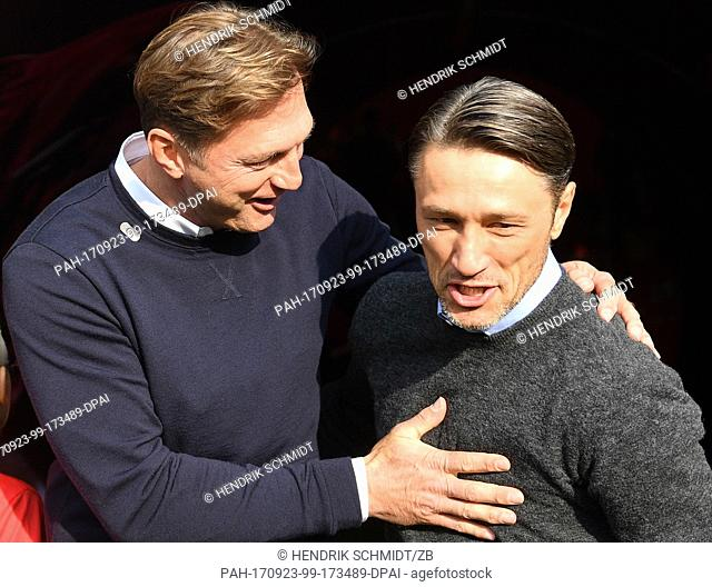 Leipzig's head coach Ralph Hasenhuettl aand Frankfurt's head coach Niko Kovac greet each other before the German Bundesliga match between RB Leipzig and...