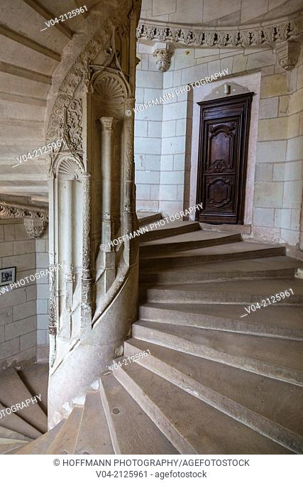 Staircase in the beautiful Château de Chaumont-sur-Loire (Chaumont Castle) in the Loire Valley, Loir-et-Cher, France, Europe
