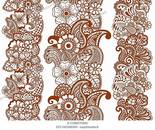 Mehndi ribbons. Paisley design. Collcstion of ornaments. Vector illustration