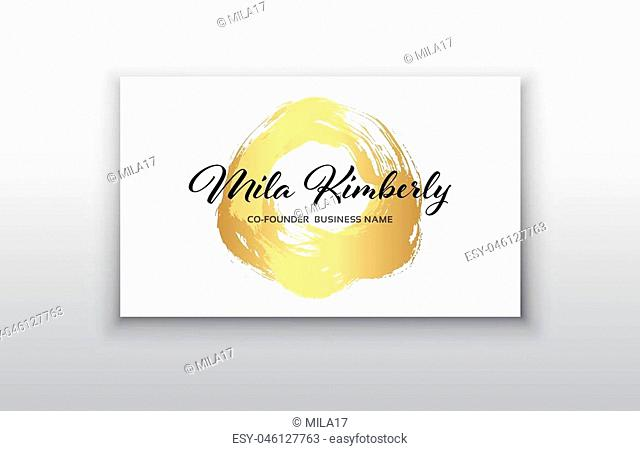 Vector gold business card templates with brush stroke background.Vector design concept. For stylist, makeup artist, photographer