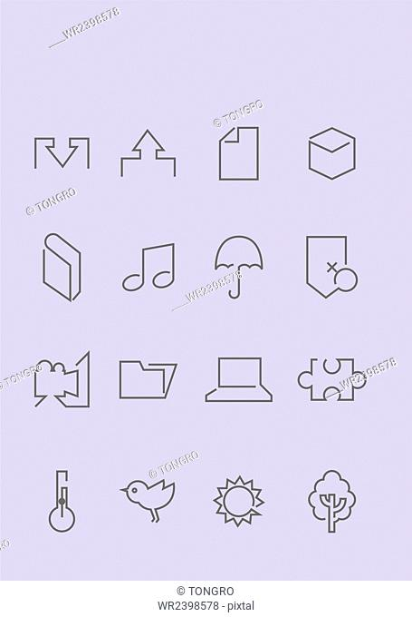 Set of various simple line icons