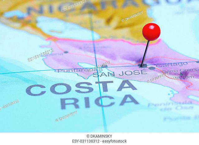 Photo of pinned San Jose on a map of South America. May be used as illustration for traveling theme