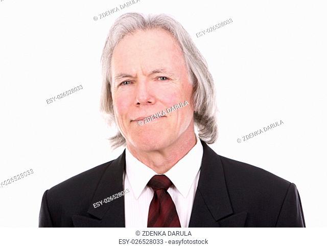 senior caucasian businessman posing on white isolated background