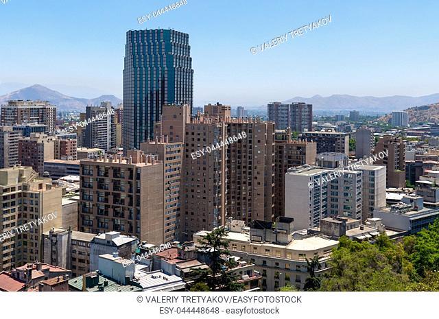 Santiago cityscape, Chile shot from Cerro Santa Lucia