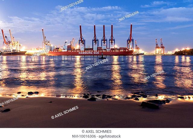 Elbe Beach at full moon, Altona, port of Hamburg, Hamburg, Germany