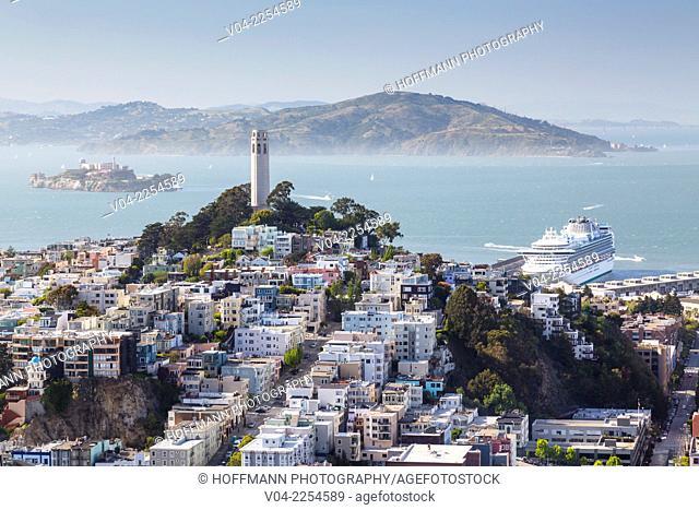 Cruise ship, Coit Tower and Alcatraz, San Francisco, California, USA