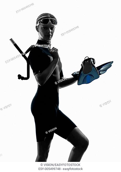 one caucasian woman snorkeler swimmer in silhouette studio isolated on white background
