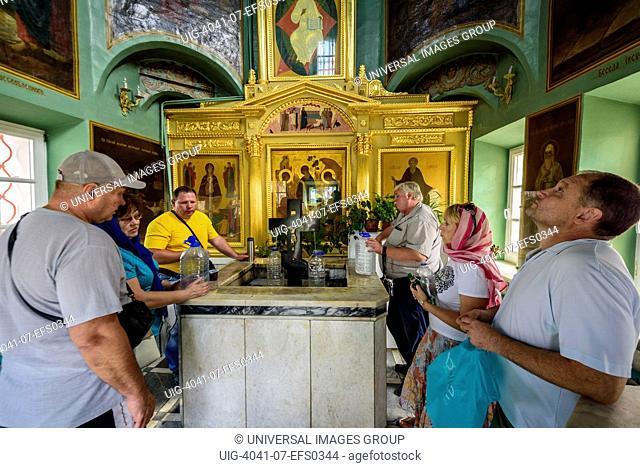Lavra, Trinity Sergiev Monastery, Visitors taking holy water, Russia