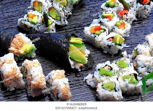 Healthy very popular Japanese food sushi