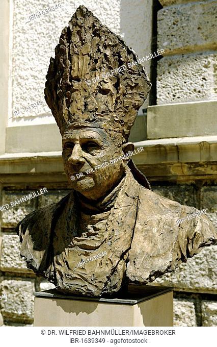Bronce bust of Pope Benedict XIV by J. Brunner, 2007, Stadtplatz town square, Traunstein, Upper Bavaria, Bavaria, Germany, Europe