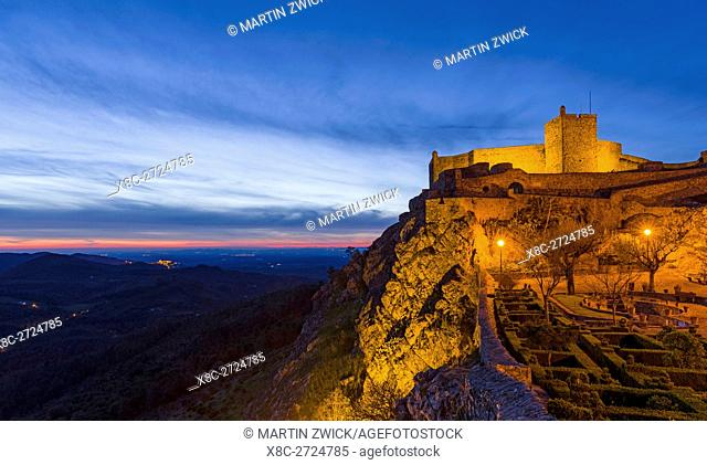 The castle dating back to moorish times in the middle ages. Marvao a famous medieval mountain village and tourist attraction in the Alentejo
