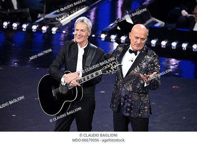 Claudio Baglioni e Claudio Bisio at the first evening of the 69th Sanremo Music Festival. Sanremo (Italy), February 5th, 2019