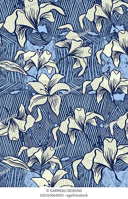 Floral shapes over line design