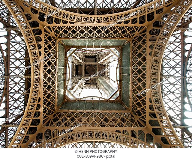 Low angle view with Eiffel Tower directly above, Paris, France