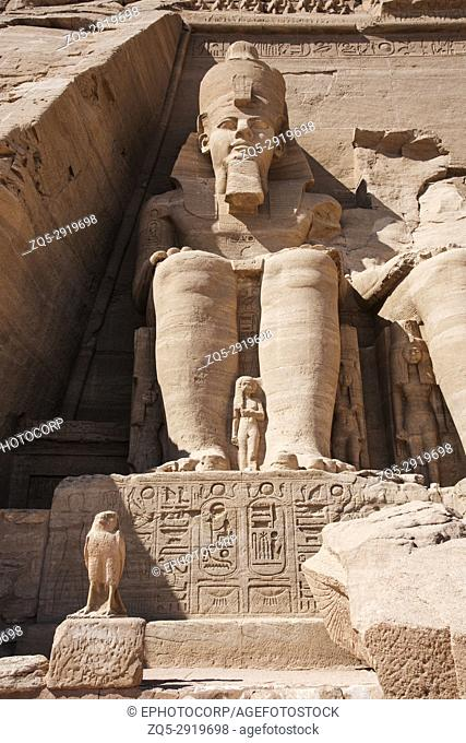 Partial view of two massive rock temples, The twin temples were originally carved out of the mountainside during the reign of Pharaoh Ramesses II in the 13th...