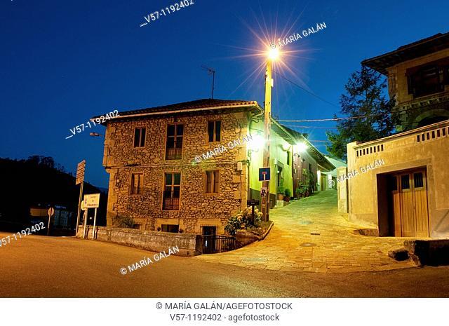Street at night. Bustio, Asturias province, Spain