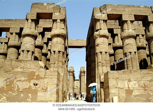 Columns at Luxor temple. Luxor (ancient egyptian city of Thebes). East Bank of the Nile