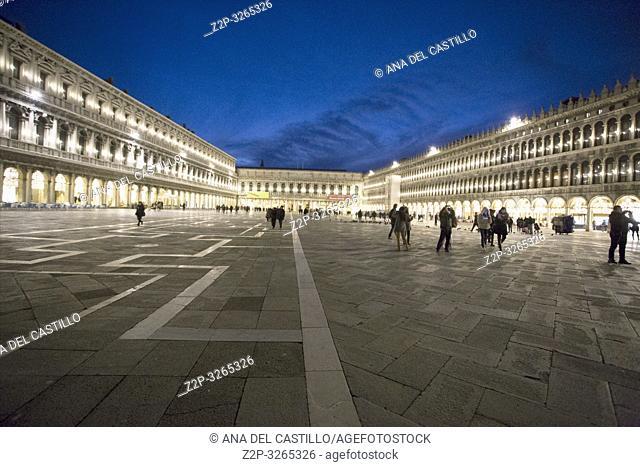 Venice, Veneto, Italy: Twilight at Saint Marks square