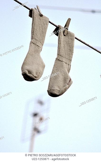 Rimini (Italy), socks hanging on a string, a decoration in San Giuliano's neighborhood during the Festa de' Borg ('Hood party')