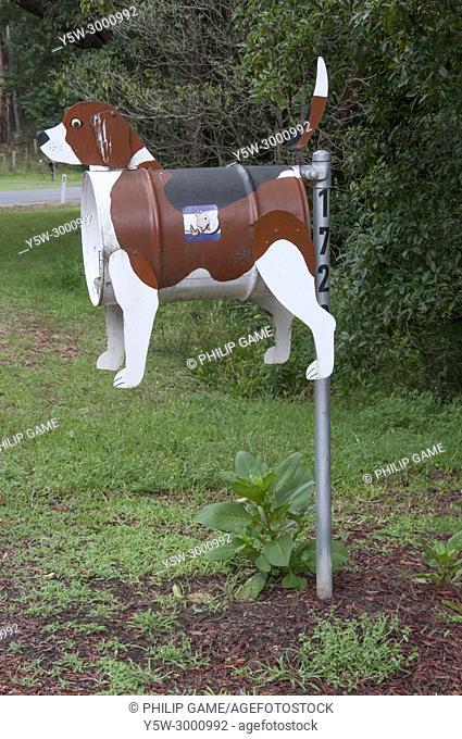 Roadside mailbox at a pet-friendly caravan park in South Gippsland, Victoria, Australia, Australia