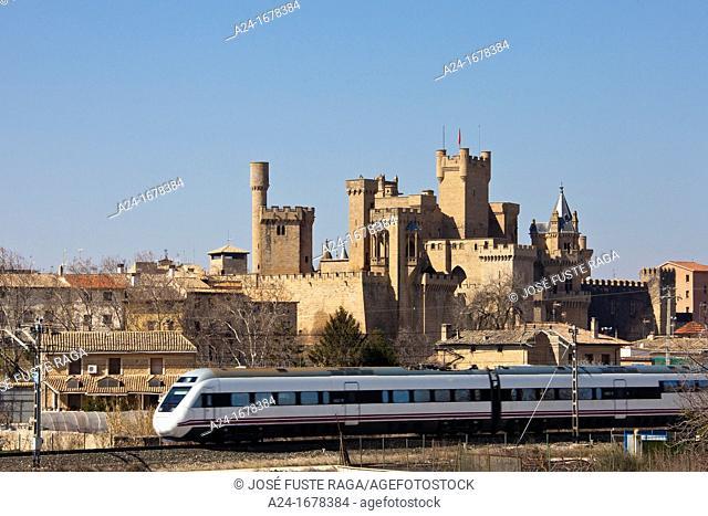 Spain Navarra Region , Olite City , Royal Palace of Olite, train