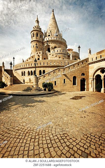 The Fishermen's Bastion on Castle Hill in Budapest, Hungary. Digitally Manipulated Image. Stylised by enhancing color, sharpening and adding texture
