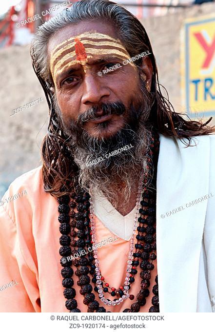 Sadhu on the ghats. Varanasi, Benares, Uttar Pradesh, India