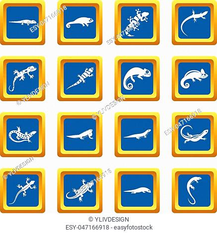 42e07f10c315c Lizard icons set in blue color isolated vector illustration for web and any  design