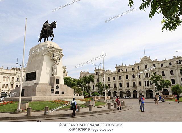 General Jose de San Martin Monument on Plaza San Martin, Lima, Peru