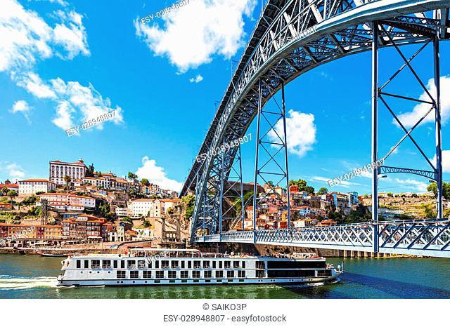 The Dom Luis I Bridge is a metal arch bridge that spans the Douro River between the cities of Porto and Vila Nova de Gaia, Portugal
