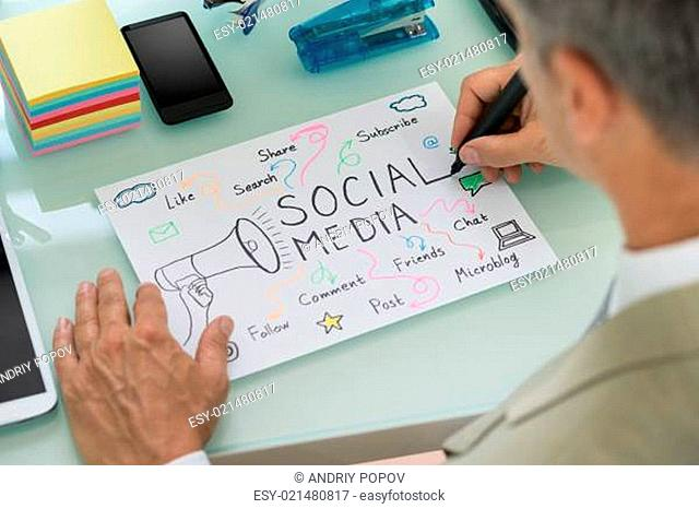 Close-up Of Businessman Planning Social Media Strategy On Paper. Diagram was created by photographer