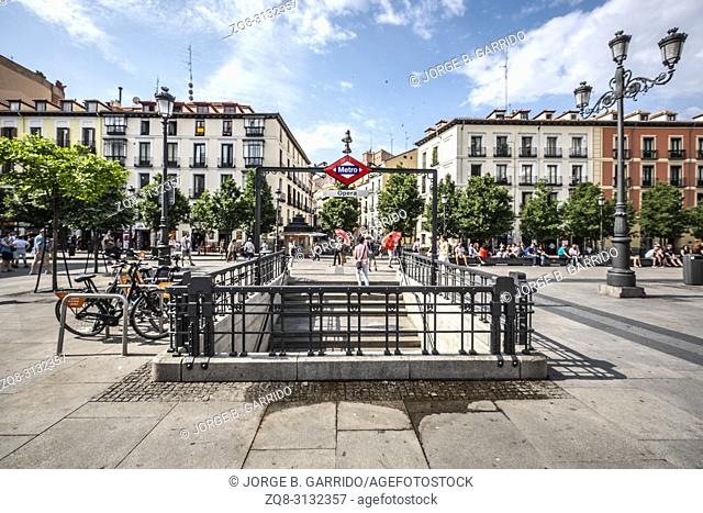 Entrance to the Madrid Metro subway system. Madrid Metro is great public transport to travel in the city. It has many stations and lines