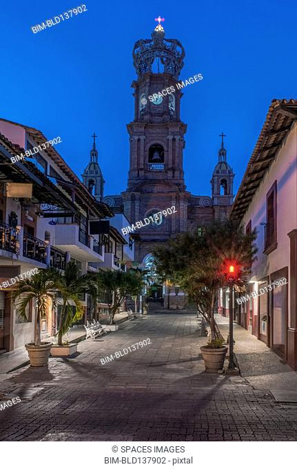 Our Lady of Guadalupe church overlooking Puerto Vallarta street, Jalisco, Mexico