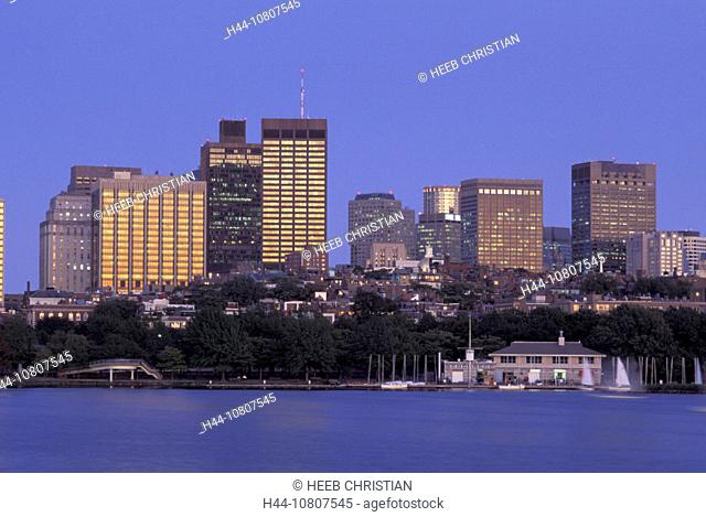 America, Downtown, Boston, James River, Massachusetts, Skyline, Skylines, United States, North America, USA, twiligh